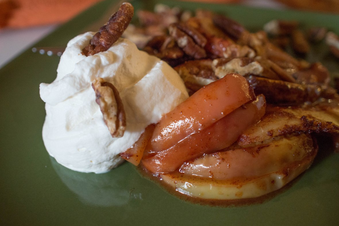 Crustless Apple Pie with Toasted Salted Pecans and Maple Whipped Cream